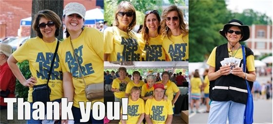 Four photos of volunteers and graphic text that says Thank You!