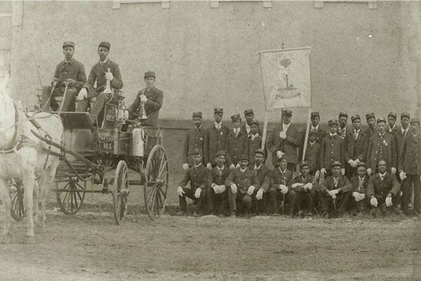 The first engine in Greenville, called the Neptune Fire Company, circa 1900