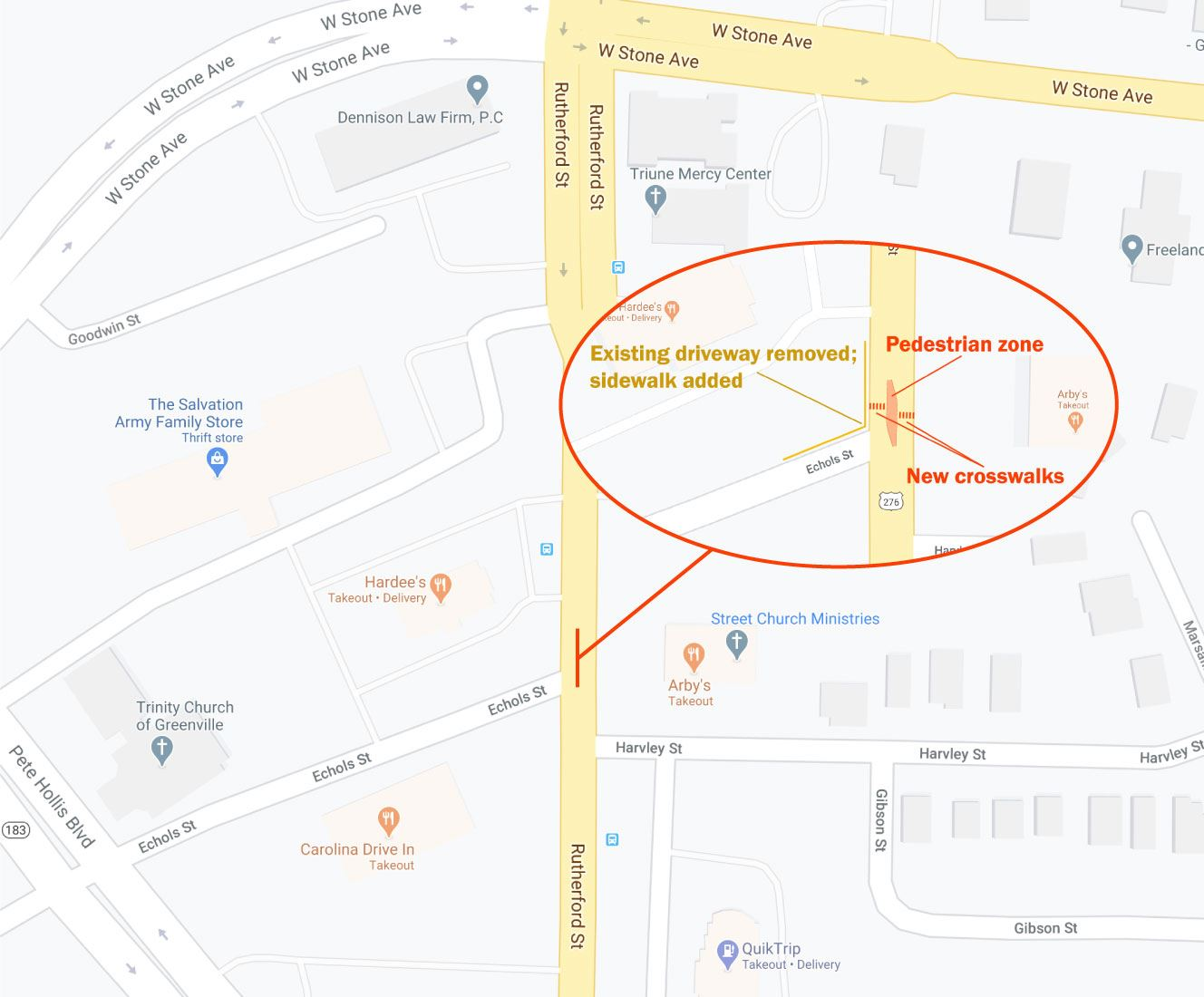 Map showing location of pedestrian walkway